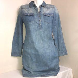 Old Navy Denim Henley Style Long SleeveButtonDress
